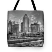 Midtown Atlanta Dusk B W Atlanta Construction Art Tote Bag