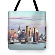Midtown Manhattan Skyline At Sunset, New York City, Usa Tote Bag