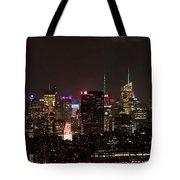 Midtown West Manhattan Skyline Aerial At Night Tote Bag
