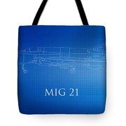 Mig 21 Blueprint Tote Bag