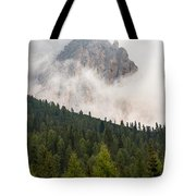Mighty Dolomite Peaking Through The Clouds Tote Bag