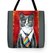 Mika - Gray Tuxedo Cat Painting Tote Bag