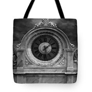Milan Clock In Black And White Tote Bag