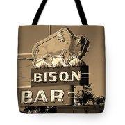Miles City, Montana - Bison Bar Sepia Tote Bag