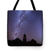 Milky Way Above Ruined Church Tower Tote Bag