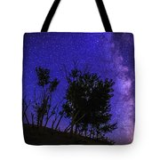Milky Way And Silhouette Trees At Bruneau Dunes State Park Idaho Tote Bag