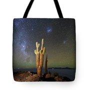 Milky Way Magellanic Clouds And Giant Cactus Incahuasi Island Bolivia Tote Bag