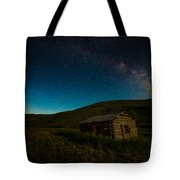 Milky Way Over Log Cabin Tote Bag