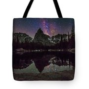Milky Way Over Lone Eagle Peak And Mirror Lake Tote Bag