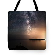 Milky Way Over Mary Island From Silver Harbour Near Thunder Bay Tote Bag