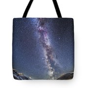 Milky Way Over The Columbia Icefields Tote Bag