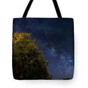 Milky Way Over The Forest At The Troodos Mountains In Cyprus. Tote Bag