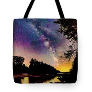 Milky Way Over The Saco River Maine  Tote Bag