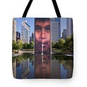 Millennium Park Fountain And Chicago Skyline Tote Bag