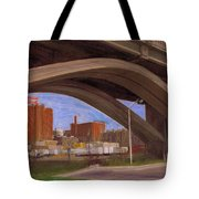 Miller Brewery Viewed Under Bridge Tote Bag