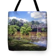 Milnes Bridge At Flood Tote Bag