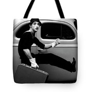 Mime Running Along Side Of Classic Hot Rod Tote Bag