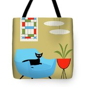 Mini Abstract With Turquoise Chair Tote Bag