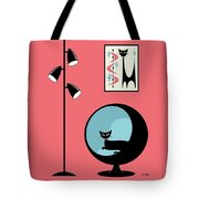 Shower Curtain Mini Atomic Cat On Pink  Tote Bag