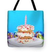 Mini Donut Cake With  Blue Candle By Sheila Fitzgerald Mini Donut Cake With Pink Candle Tote Bag
