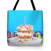 Mini Donut Cake With  Blue Candle Tote Bag