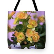 Miniature Gardening Kit With Orange Begonia Background Tote Bag