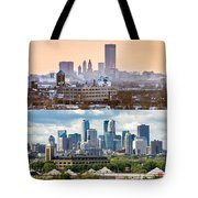 Minneapolis Skylines - Old And New Tote Bag by Mike Evangelist