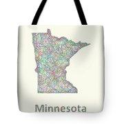 Minnesota Line Art Map Tote Bag