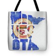 Minnesota Typography Map Flag Tote Bag