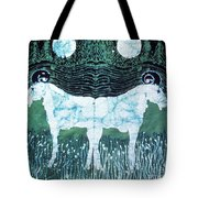 Mirror Image Goats In Moonlight Tote Bag by Carol Law Conklin