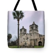 Mission Concepcion With Well And Tree Tote Bag