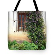 Mission Window With Purple Flowers Vertical Tote Bag