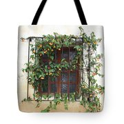 Mission Window With Yellow Flowers Tote Bag