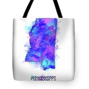 Mississippi Map Watercolor 2 Tote Bag