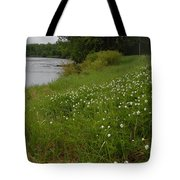 Mississippi River Bank Flowers Tote Bag