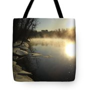 Mississippi River Bank Sunrise Tote Bag