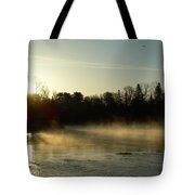 Mississippi River Dawn Light Rays Tote Bag