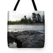 Mississippi River Dawn Over The Rocks Tote Bag