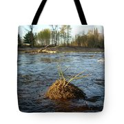 Mississippi River Grass On A Rock Tote Bag