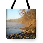 Mississippi River Shades Of Fog Tote Bag