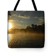 Mississippi River Sunrise Fog Tote Bag