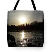 Mississippi River Sunrise Reflection Tote Bag