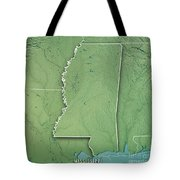 Mississippi State Usa 3d Render Topographic Map Border Tote Bag