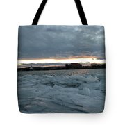 Missouri River Ice Sheet Sunset Tote Bag
