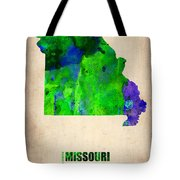 Missouri Watercolor Map Tote Bag
