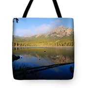 Mist On Pyramid Mountain Tote Bag