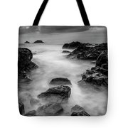 Mist On The Water In Monochrome Tote Bag