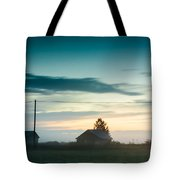 Mist Rises Over The Barn Houses Tote Bag