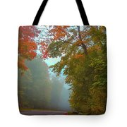 Misty Autumn Road Tote Bag