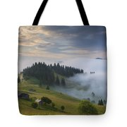 Misty Dawn In The Mountains Tote Bag
